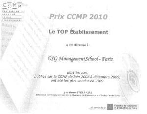 Ecole commerce ESG - prix CCMP 2010